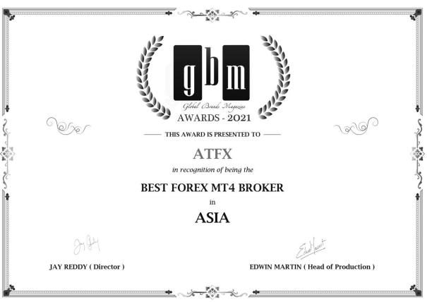 """荣耀加冕,ATFX获""""2021亚洲最佳MT4差价合约经纪商""""大奖"""